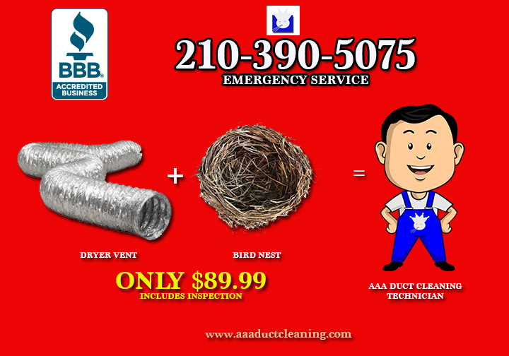 AA Duct Cleaning is San Antonio's Dryer Vent Cleaning Experts wih over 10 yers in business in the San Antonio Metro Area including New Braunfels, Helotes, Castroville, and Converse. Call today for your Dryer Ven Cleaning Services and Inspecion for an affordable price at 210-390-5075.