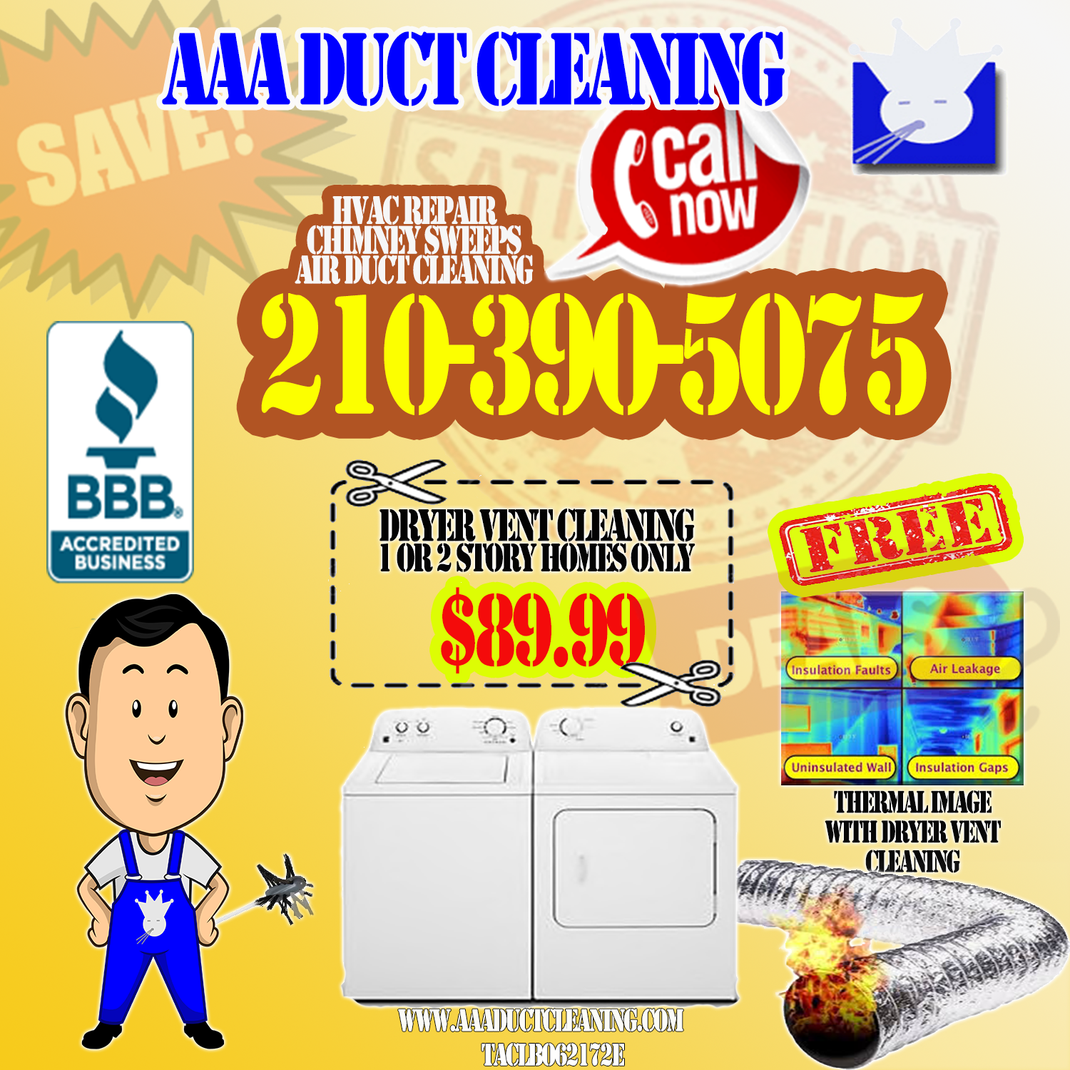Dryer Vent Cleaning Company Located in San Antonio. Call For your next appointment for annual dryer vent cleaning San Antonio.